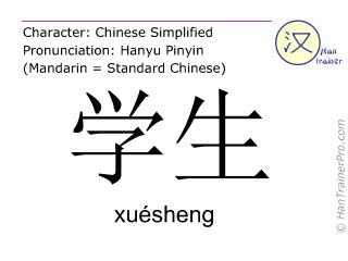 汉字  ( xuesheng / xuésheng ) 包括发音 (英文翻译: student )