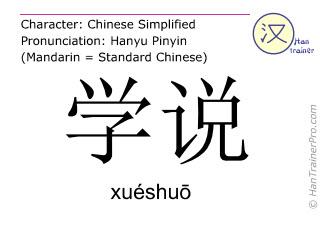 Chinesische Schriftzeichen  ( xueshuo / xuéshuō ) mit Aussprache (Deutsche Bedeutung: Theorie )