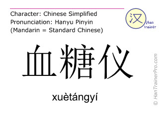 Chinese characters  ( xuetangyi / xuètángyí ) with pronunciation (English translation: blood glucose meter )