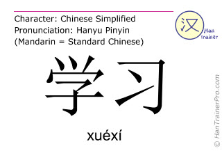 Chinese character xuexi ( xuéxí ) with pronunciation (English translation: to study )