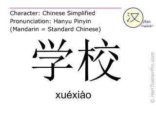 Chinesische Schriftzeichen  ( xuexiao / xuéxiào ) mit Aussprache (Deutsche Bedeutung: Schule )