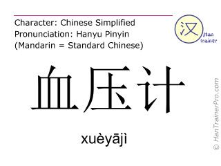 Caractère chinois  ( xueyaji / xuèyājì ) avec prononciation (traduction française: sphygmomanomètre )
