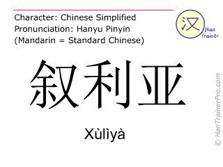 Chinese characters  ( Xuliya / Xùlìyà ) with pronunciation (English translation: Syria )