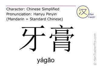 Caracteres chinos  ( yagao / yágāo ) con pronunciación (traducción española: pasta de dientes )