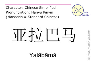 Chinese characters  ( Yalabama / Yàlābāmă ) with pronunciation (English translation: Alabama )