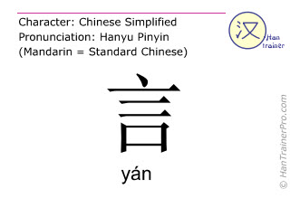 Chinese characters  ( yan / yán ) with pronunciation (English translation: to talk )