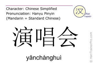 Chinesische Schriftzeichen  ( yanchanghui / yănchànghuì ) mit Aussprache (Deutsche Bedeutung: Gesangskonzert )