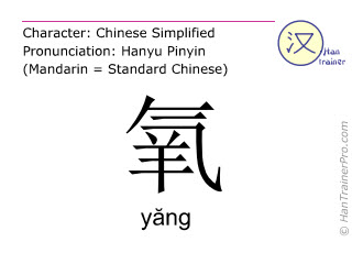 Chinese characters  ( yang / yăng ) with pronunciation (English translation: oxygen )