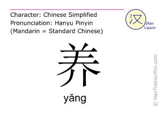 Chinese characters  ( yang / yăng ) with pronunciation (English translation: to raise )