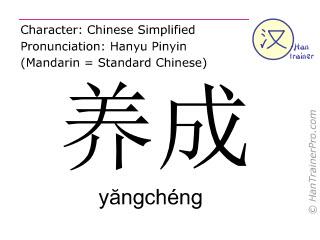 Chinesische Schriftzeichen  ( yangcheng / yăngchéng ) mit Aussprache (Deutsche Bedeutung: erarbeiten )
