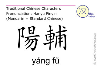Chinese characters  ( yang fu / yáng fŭ ) with pronunciation (English translation: Gall Bladder 38 )
