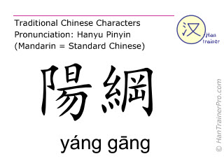 Chinese characters  ( yang gang / yáng gāng ) with pronunciation (English translation: Bladder 48 )