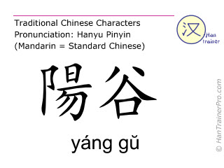 Chinese characters  ( yang gu / yáng gŭ ) with pronunciation (English translation: Small Intestine 5 )