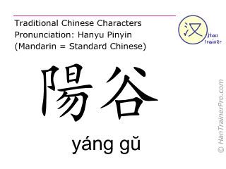 Chinesische Schriftzeichen  ( yang gu / yáng gŭ ) mit Aussprache (Deutsche Bedeutung: Dünndarm 5 )