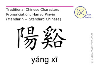 Chinese characters  ( yang xi / yáng xī ) with pronunciation (English translation: Large Intestine 5 )