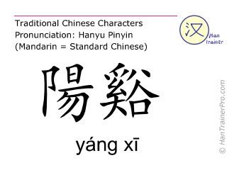 Caracteres chinos  ( yang xi / yáng xī ) con pronunciación (traducción española: intestino grueso 5 )