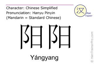 Chinesische Schriftzeichen  ( Yangyang / Yángyang ) mit Aussprache (Deutsche Bedeutung: Yangyang )
