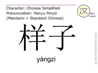 Caracteres chinos  ( yangzi / yàngzi ) con pronunciación (traducción española: manera )
