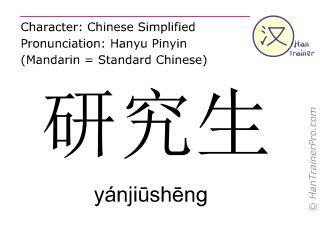Caractère chinois  ( yanjiusheng / yánjiūshēng ) avec prononciation (traduction française: étudiant diplômé )