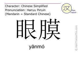 Caractère chinois  ( yanmo / yănmó ) avec prononciation (traduction française: masque d'œil )