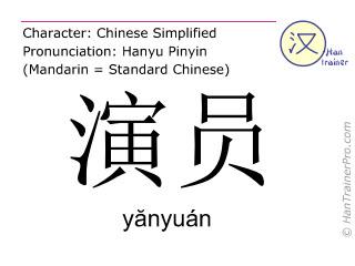 汉字  ( yanyuan / yănyuán ) 包括发音 (英文翻译: actor )