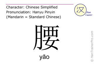 Chinesische Schriftzeichen  ( yao / yāo ) mit Aussprache (Deutsche Bedeutung: Hüfte )