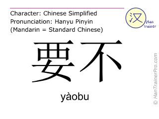 汉字  ( yaobu / yàobu ) 包括发音 (英文翻译: or )
