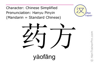 Chinese characters  ( yaofang / yàofāng ) with pronunciation (English translation: prescription )