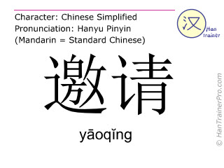 Chinese characters  ( yaoqing / yāoqĭng ) with pronunciation (English translation: to invite )
