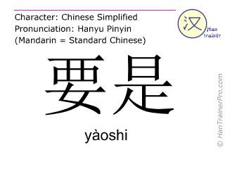 Caracteres chinos  ( yaoshi / yàoshi ) con pronunciación (traducción española: si )