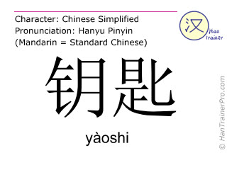 Chinese characters  ( yaoshi / yàoshi ) with pronunciation (English translation: key )