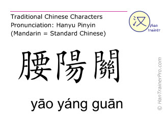 Chinese characters  ( yao yang guan / yāo yáng guān ) with pronunciation (English translation: Du Mai 3 )