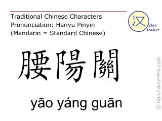 Chinesische Schriftzeichen  ( yao yang guan / yāo yáng guān ) mit Aussprache (Deutsche Bedeutung: Du Mai 3 )