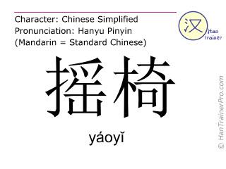Chinesische Schriftzeichen  ( yaoyi / yáoyĭ ) mit Aussprache (Deutsche Bedeutung: Schaukelstuhl )