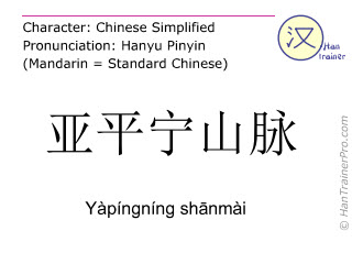 Chinese characters  ( Yapingning shanmai / Yàpíngníng shānmài ) with pronunciation (English translation: Apennines )