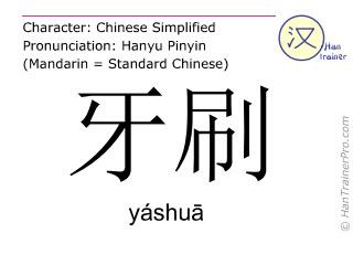 汉字  ( yashua / yáshuā ) 包括发音 (英文翻译: toothbrush )