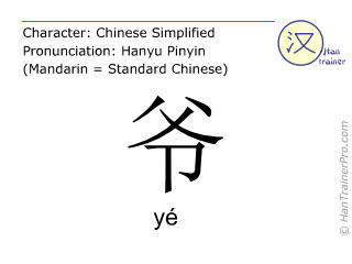 Chinese characters  ( ye / yé ) with pronunciation (English translation: <m>grandfather</m> )