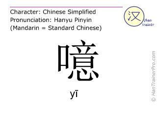 Caractère chinois  ( yi / yī ) avec prononciation (traduction française: hélas )