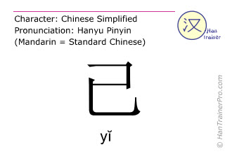 Chinese characters  ( yi / yĭ ) with pronunciation (English translation: already )
