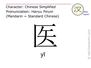 Chinese characters  ( yi / yī ) with pronunciation (English translation: <m>doctor</m> )