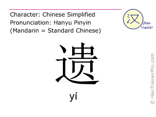Chinese characters  ( yi / yí ) with pronunciation (English translation: to lose )