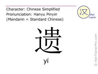汉字  ( yi / yí ) 包括发音 (英文翻译: to lose )