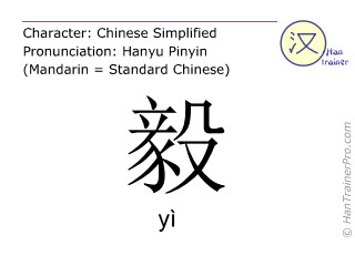 Chinese characters  ( yi / yì ) with pronunciation (English translation: <m>resolute</m> )