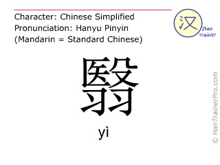 Chinese characters  ( yi / yì ) with pronunciation (English translation: to shade )