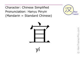 汉字  ( yi / yí ) 包括发音 (英文翻译: suitable )