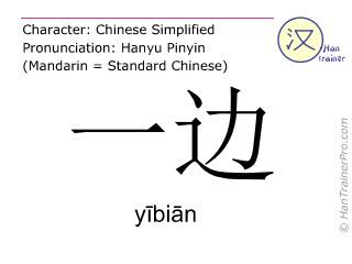 Caractère chinois  ( yibian / yībiān ) avec prononciation (traduction française: un côté )