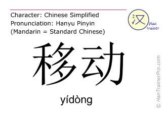 Chinesische Schriftzeichen  ( yidong / yídòng ) mit Aussprache (Deutsche Bedeutung: bewegen )
