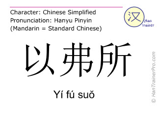 Caractère chinois  ( Yi fu suo / Yí fú suŏ ) avec prononciation (traduction française: Ephèse )