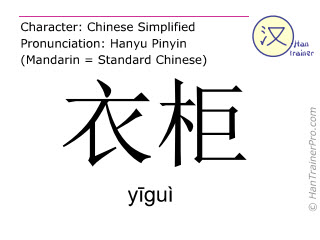 Caracteres chinos  ( yigui / yīguì ) con pronunciación (traducción española: armario )