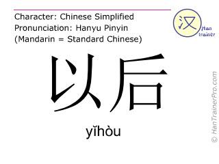 Caracteres chinos  ( yihou / yĭhòu ) con pronunciación (traducción española: luego )